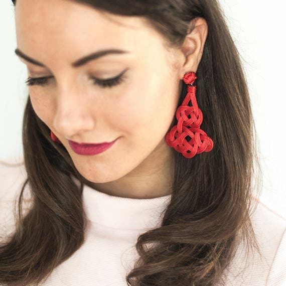 Arabesque Knot Earrings / Sz Large / Christmas Gift Wife Gift Chinese Knot Statement Earrings Chic