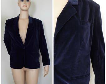 Vintage Womens 1990s Navy Blue Cotton Velvet Single Breasted Single Button Blazer Jacket | Size M/L