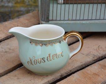 """Milk jug """"we two"""", cream jug vintage Villeroy and Boch, birds, old Creamer 1950"""