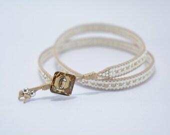 Wrap bracelet Swarovski button pearls and beige Miyuki beads and silver beads