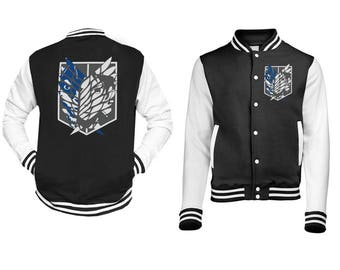 Attack On Titan Baseball Jacket Unisex Geek Manga Jumper Sizes S - 3XL