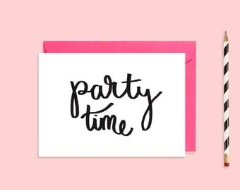 Party Time Card | A6 Printable Card | Instant Download | Hand Illustrated Stationary