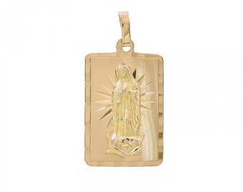 14K Yellow Gold Blessed / Saint Mary/ Mother Of God / Virgin Mary Pendant
