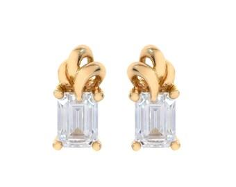 2.00 Carat Emerald Cut CZ Stud Earrings 14K Yellow Gold