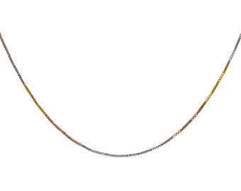 18k Tri-color Gold Over Silver Snake Link Chain Made In Italy 18""