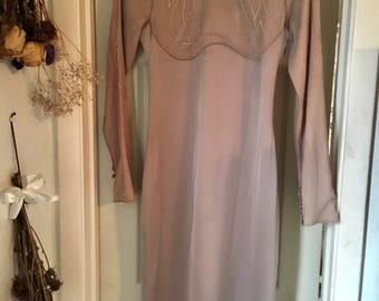 Yves Saint Laurent Tan Long Sleeve Dress