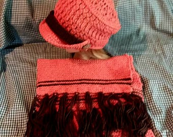 Hand Crochet Newsboy Hat and Scarf
