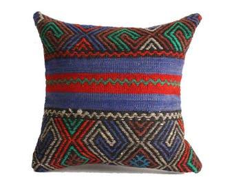 18x18 kilim pillows, decorative pillows, handmade pillow, kilim floor cushion, floor cushions, floor kilim pillow, kilim rug pillow g286