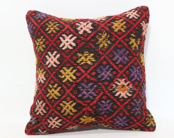 Embroidered Kililim Pillow Turkish Kilim Pillow 16x16 Naturel Kilim Pillow Turkish Kilim Pillow Cushion Cover  SP4040-2501