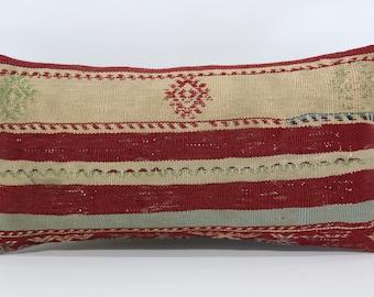 Striped Kilim Pillow Handwoven Kilim Pillow Sofa Pillow 12x24 Lumbar Kilim Pillow Boho Pillow Ethnic Pillow Cushion Cover  SP3060-983