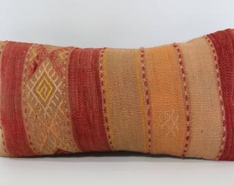 10x20 Boho Pillow Sofa Pillow Ethnic Pillow Naturel Kilim Pillow 10x20 Decorative Kilim Pillow Handwoven Kilim Pillow SP2550-1229