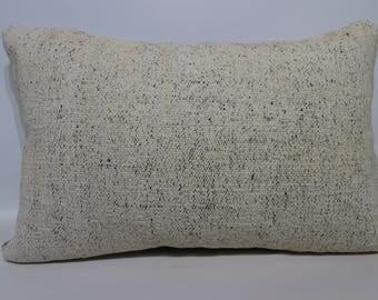 Flat White Kilim Pillow Cushion Cover 16x24 Floor Kilim Pillow Handwoven Kilim Pillow  Cotton Kilim Pilow Anatolian Kilim Pillow SP4060-950