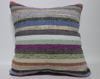 20x20 Handwoven Cotton Kilim Pillow Throw Pillow Sofa Pillow  20x20 Anatolian Kilim Pillow Ethnic Pillow Wasahable Kilim Pillow  SP5050-2286
