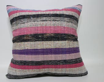 20x20 Cotton Kilim Pillow Sofa Pillow Boho Pİllow Sofa Pillow 20x20 Anatolian Kilim Pillow Cushion Cover SP5050-2289