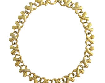 Vintage Anne Klein Gold Tone X Choker Necklace