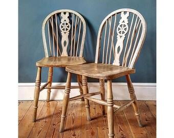 Pair of Antique Elm Farmhouse Wheelback Kitchen Chairs