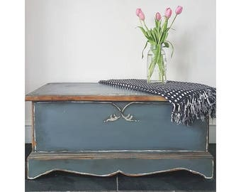 SOLD - Bohemian Farrow & Ball Painted Blanket Box Toy Chest