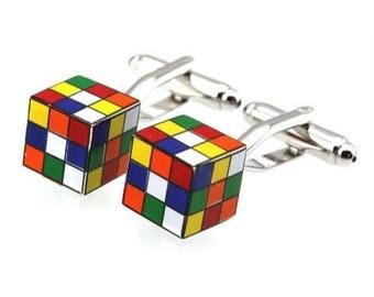 Rubix Cube Cufflink -k251 Free Gift Box**