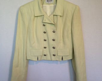 1990s pale yellow/green linen cropped jacket by MOSCHERY, size 8 - made in USA