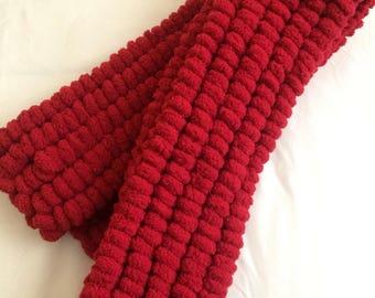 Hand knitted rico pompom scarf