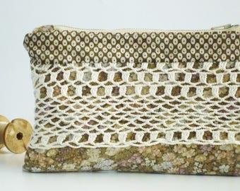 Crochet flowers pattern clutch geometric Zip silver single model