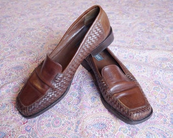 70s Bally shoes Vintage brown woven leather loafers leather shoes • Men Size eu 8 uk 9 us 10