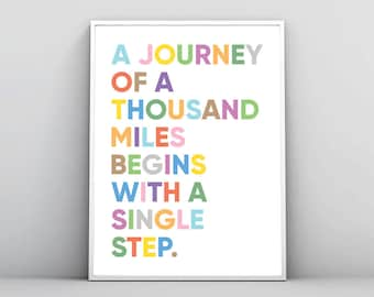 A Journey Of Thousand Miles Begins With Single Step, Inspirational Print, Motivational Wall Art, Printable Poster, Travel Quote, Download