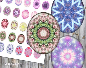 Digital Collage Sheet - Instant Download - Oval Size 40x50mm + 30x40mm + 22x30mm Printable Images - Fractal Kaleidoscope Mandala