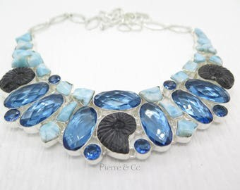 Black Ammonite Fossil London Blue Topaz Larimar Sterling Silver Necklace