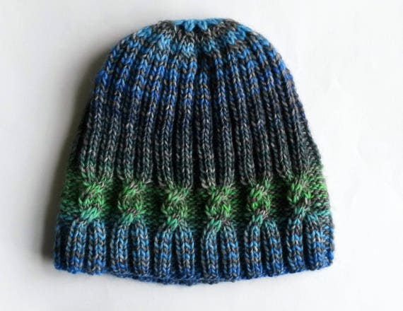 Knit beanie hat: original design. Made in Ireland. Handknit hat. Women's beanie. Men's beanie. Striped beanie. Cable knit hat. One of a kind
