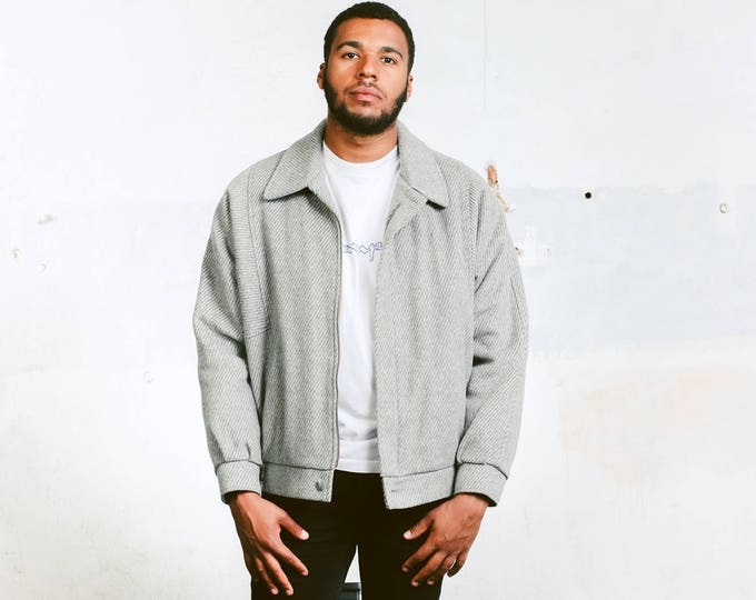 Vintage Wool Jacket . Men's 80s Warm Wool Jacket Short Coat Grey Winter Jacket Bomber Jacket Wool Coat Outerwear . size XL