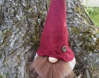 Woodland Gnome with burgundy hat and sweater body