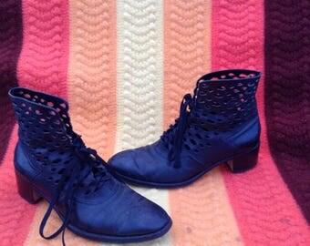 Vintage Black Leather Ankle Boots w/ Holes