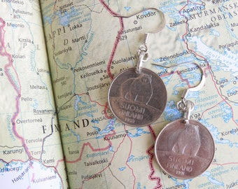 Finland coin earrings - bear - made of coins from Finland - wanderlust - travelgift - Fernweh