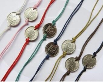 Netherlands colored quarter coin bracelet 1982 - 1983 - 1984 - 1985 - 1986 - 1987 - 1988 - 1989