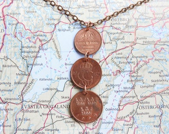 Sweden coin necklace/keychain - 5 different designs - made of original coins - Scandinavia - travel gift