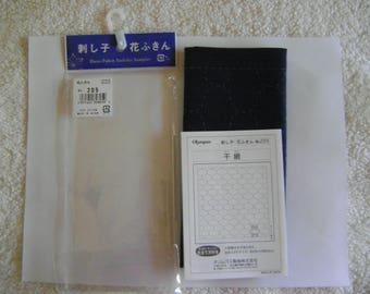 Hana-Fukin Sashiko Sampler Kit in Indigo Blue Cotton/Chickenwire Hoshi-Ami