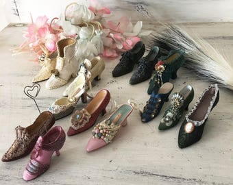 Vintage Miniature Shoes Lot of 14 pieces collectible ornament boots