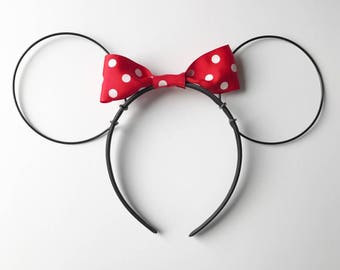 Black Wire Ears // Classic Red Bow