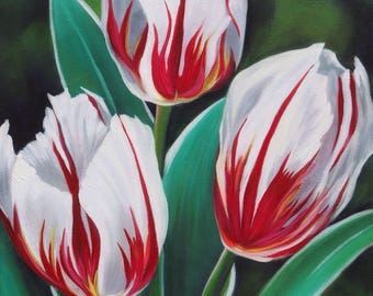 Canada 150 Tulips Floral Original Oil Painting