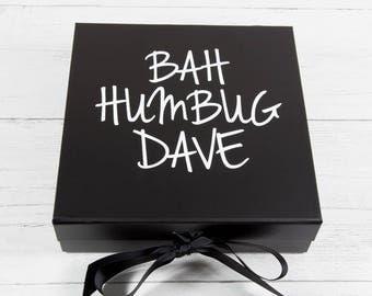 Bah Humbug Gift Box - Christmas Gift Box - Bah Humbug Christmas Decoration - Christmas Scrooge Gift - Personalised Christmas Gift Box