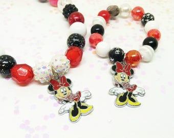 Minnie Mouse stretchy beaded necklace bracelet jewelry set