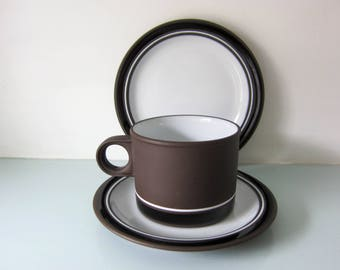 Hornsea pottery, contrast design, brown and white, Hornsea cup and saucer, plate, trio, modernist style,