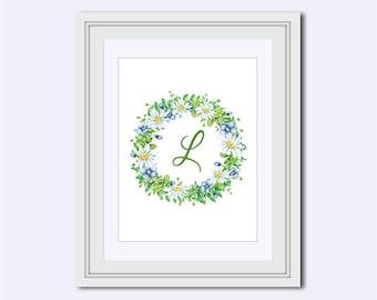 Monogram L - Monogram print - chamomile flowers - floral monogram - Wedding printable -   Monogram Wall Art - Home Decor - Instant download