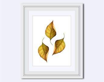 golden leaf print - fall leaf print - leaf Wall Art - leaf decor - Modern art - nature print - Printable Art - Instant download - wall decor
