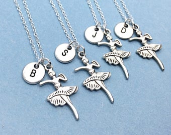 Set of Four Matching Dance necklaces, dancer necklace, dance charm, best friend for 4, personalized, initial necklace charm, jewelry gift