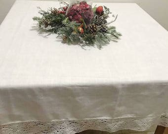 "White Tablecloth with Lace Fit a 4 Chair table White linen 67"" x 59"""