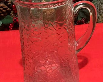Vintage Clear Glass Pitcher Water/Juice Table Pitcher
