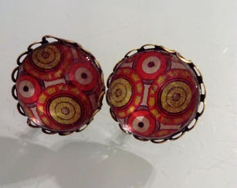 Earring cabochon pattern colored wax, vintage, ethnic smart