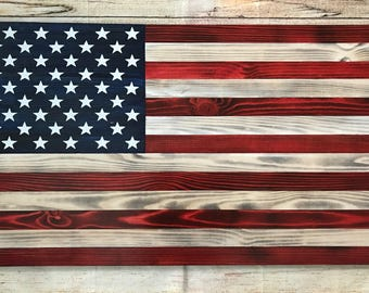 Custom made wooden American flag wall hanging - painted or carved